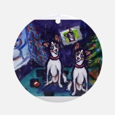 RAT TERRIER Christmas snowman Ornament (Round)