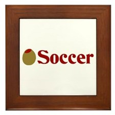 Olive (I Love) Soccer Framed Tile