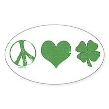 Peace Love Irish Oval Bumper Stickers