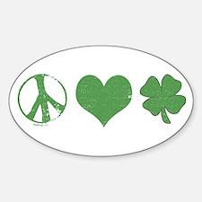 Peace Love Irish Oval Decal