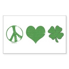 Peace Love Irish Rectangle Decal