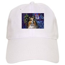 Sheltie Xmas snowmen design Baseball Cap
