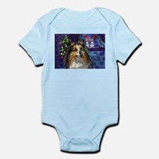 Sheltie Xmas snowmen design Infant Creeper