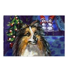 Sheltie Xmas snowmen design Postcards (Package of