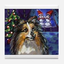 Sheltie Xmas snowmen design Tile Coaster