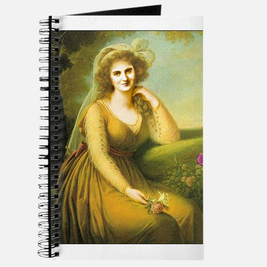 Journal with lady in late 18th c. fashion regency