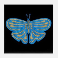 Blue & Gold Butterfly Tile Coaster