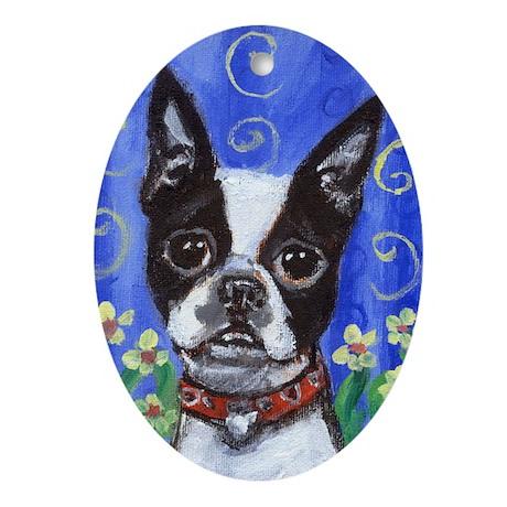 Boston Terrier flowers portra Oval Ornament