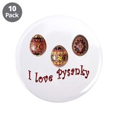 """I Love Pysanky 3.5"""" Button (10 pack)"""