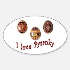 I Love Pysanky Oval Decal
