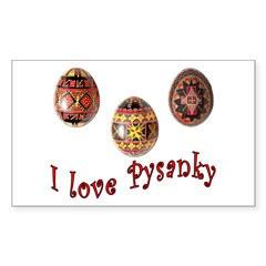 I Love Pysanky Rectangle Sticker 10 pk)
