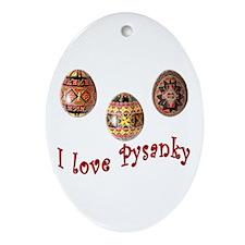 I Love Pysanky Oval Ornament
