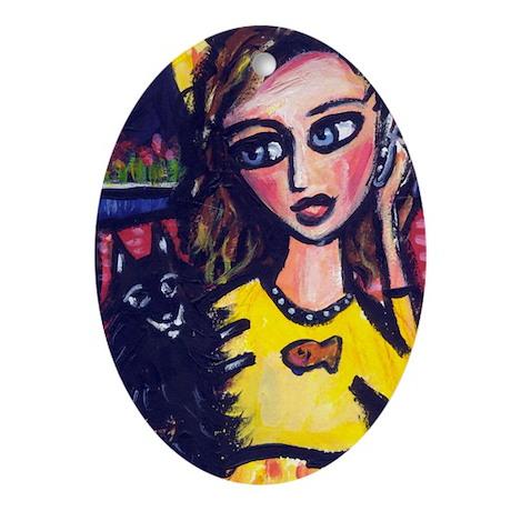 Schipperke w lady on cell pho Oval Ornament