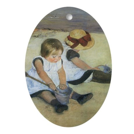 Cassatt Children Playing on Beach Ornament (Oval)