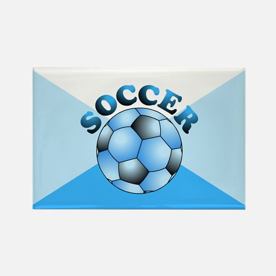 Blue Soccer Rectangle Magnet