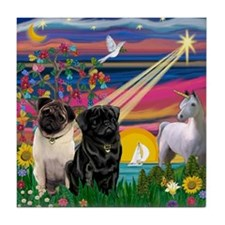 Pug Magical Night Tile Coaster