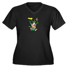 Loony Fool Women's Plus Size V-Neck Dark T-Shirt