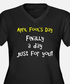 April Fool's Day Women's Plus Size V-Neck Dark T-S