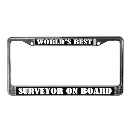 World's Best Surveyor License Plate Frame