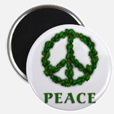 """Peace Symbol Holly Wreath 2.25"""" Magnet (10 pack)"""