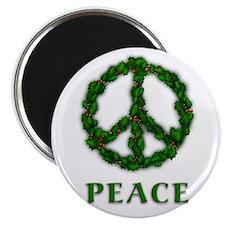 Peace Symbol Holly Wreath Magnet