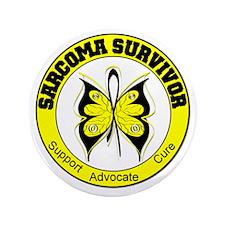 "Sarcoma Survivor Butterfly 3.5"" Button"