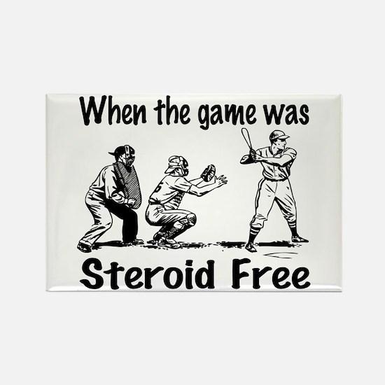 Steroid free baseball Rectangle Magnet