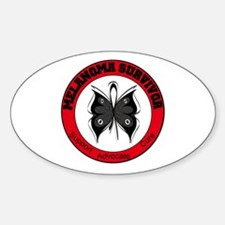 Melanoma Survivor Butterfly Oval Decal