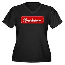Breadwinner Women's Plus Size V-Neck Dark T-Shirt