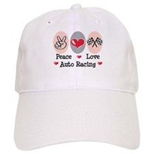 Peace Love Auto Racing Baseball Cap