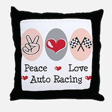 Peace Love Auto Racing Throw Pillow