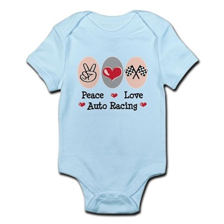 Peace Love Auto Racing Infant Bodysuit