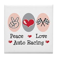 Peace Love Auto Racing Tile Coaster