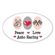 Peace Love Auto Racing Oval Decal