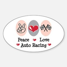 Peace Love Auto Racing Oval Decal