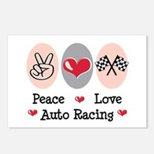 Peace Love Auto Racing Postcards (Package of 8)