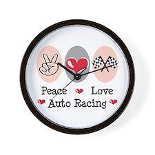Peace Love Auto Racing Wall Clock
