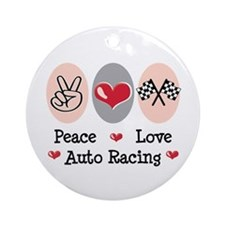 Peace Love Auto Racing Ornament (Round)