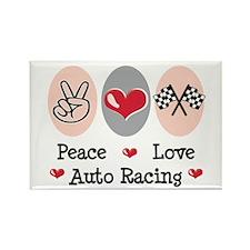 Peace Love Auto Racing Rectangle Magnet