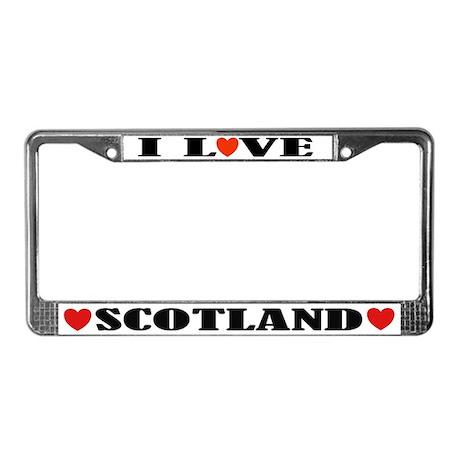I Love Scotland License Plate Frame
