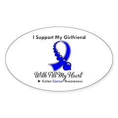 ColonCancerHeart Girlfriend Oval Sticker (10 pk)