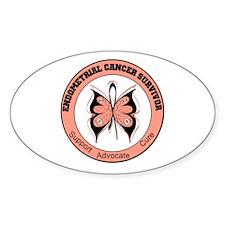 Endometrial Cancer Survivor Oval Sticker (10 pk)
