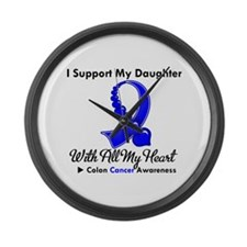 ColonCancerHeart Daughter Large Wall Clock
