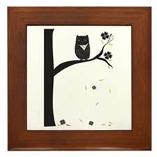 Cute Bohemian owl Framed Tile