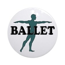 Male Ballet Silhouette Ornament (Round)