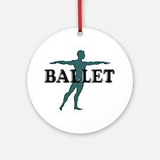 Male Ballet Silhouette Ornament (Round)