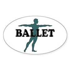 Male Ballet Silhouette Oval Decal