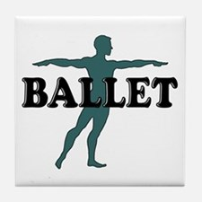 Male Ballet Silhouette Tile Coaster