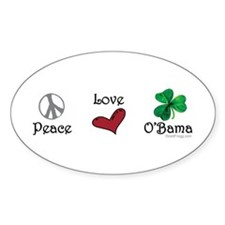 oddFrogg Peace Love O'Bama Bumper Decal