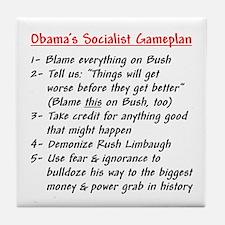 """Obama's Socialist Gameplan"" Tile Coaster"